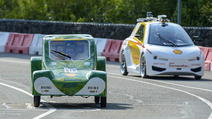 The Droplet, #510, gasoline UrbanConcept, competing for The Active Members Team from Lycee Des Metiers Gustave Eiffel, Talange, France on the track during practice day 2 of the Shell Eco-marathon Europe 2015 in Rotterdam, Netherlands, Thursday, May 21, 2015. (Ermindo Armino/AP Images for Shell)